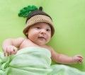 Baby boy weared in acorn hat