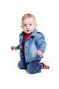 Baby boy wearing jeans jacket Royalty Free Stock Image