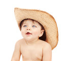 Baby boy wearing stetson closeup portrait of sweet little isolated on white background fun and happiness concept Royalty Free Stock Photos