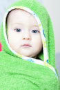 Baby boy wieh wet hair after bath Royalty Free Stock Image