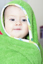 Baby boy wieh wet hair after bath Royalty Free Stock Photos