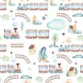 Baby boys world. Cartoon airplane, plane and waggon locomotive watercolor illustration pattern. Child toys birthday Royalty Free Stock Photo