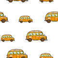Baby bright cartoon bus vector seamless pattern on white background. Royalty Free Stock Photo