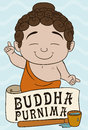 Baby Buddha Ready to Bath Tradition in Vesak, Vector Illustration