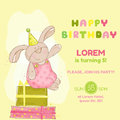 Baby bunny birthday card invitation congratulation in vector Stock Photo