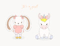 Baby bunny girl and baby unicorn girl Royalty Free Stock Photo