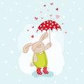 Baby Bunny with Umbrella Illustration Royalty Free Stock Photo