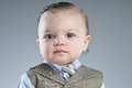 Baby businessman a month old dressed in a suit Royalty Free Stock Photo