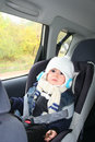 Baby in car seat for safety Royalty Free Stock Photo