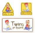 Baby in car sign stickers vector illustration or twins on board caution warning labels isolated set Royalty Free Stock Photo