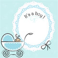 Baby card its a boy theme with in pram Stock Photo