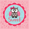 Baby card with owlet cute against the background of sweets Stock Photos