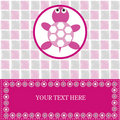 Baby card with pink turtle Royalty Free Stock Photos