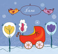 Baby card with pram for winter birthday Stock Photos