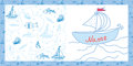 Baby card sea motif with ships Stock Image