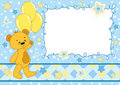 Baby card with teddy bear. Royalty Free Stock Photos