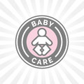 Baby care badge sign with baby icon silhouette.