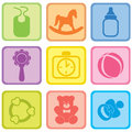 Baby care set vector illustration of baby icons beautiful Stock Image