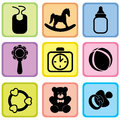 Baby care set vector illustration of icons Royalty Free Stock Photo