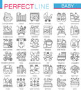 Baby care toys, kid feeding concept symbols. Perfect stroke thin line icons. Modern linear style illustrations set.