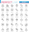 Baby care toys, kid feeding thin line web icons set. stroke outline icon design.