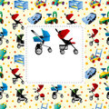 Baby carriage card Stock Photos