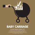 Baby carriage in hand vector illustration Royalty Free Stock Photography