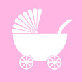 Baby carriage pink pram with background illustration Royalty Free Stock Image