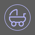 Baby carriage, pram circular line icon. Round colorful sign. Flat style vector symbol.