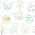 Baby carriage set your design scrapbook Stock Images