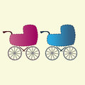 Baby carriages for boys and girls Icons