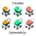 Baby carriages in isometrics in different angles.