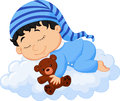 Baby cartoon sleeping cloud