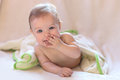 Baby the cheerful child in a towel Royalty Free Stock Photography