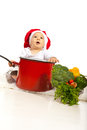 Baby chef looking up with big pot to copy space Stock Photography