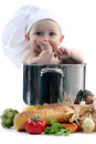 Baby in a Chef Pot on White Background. Image is S Royalty Free Stock Images