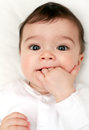 Baby chewing fingers Royalty Free Stock Photo