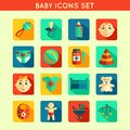 Baby child icons set decorative with bottle rattle toy ball boy and girl vector illustration Royalty Free Stock Photos