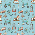 Baby, child toys hand drawn elements seamless pattern. Skeched doodle elements train, bicycle, horse, rocket and toy ship.