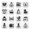Baby childhood buttons set isolated on white modern black icons with reflection cute icons collection Royalty Free Stock Image