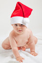 Baby with christmas cap cute Royalty Free Stock Photography