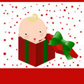Baby and christmas gift box Royalty Free Stock Photography