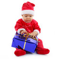 Baby christmas with present Stock Image