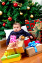 Baby with Christmas presents Royalty Free Stock Photo