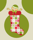 Baby in christmas stocking adorable pretty patchwork Royalty Free Stock Photos