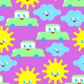 Baby cloth Cute pattern. funny sun and cloud and car cartoon style background. kids character texture. Childrens style Royalty Free Stock Photo