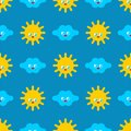 Baby cloth Cute pattern. funny sun and cloud cartoon style background. kids character texture. Childrens style Royalty Free Stock Photo