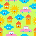 Baby cloth Cute pattern. funny sun and cloud. House and car cartoon style background. kids character texture. Childrens style Royalty Free Stock Photo