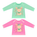Baby clothes with cartoon animals. Sketchy little pink Bunny Royalty Free Stock Photo
