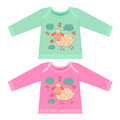 Baby clothes with cartoon animals. Sketchy little pink cute lamb Royalty Free Stock Photo